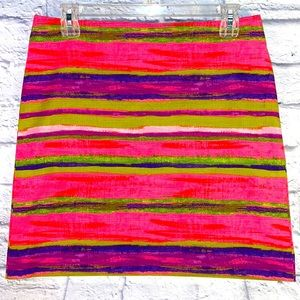 Ann Taylor Petites Neon Watercolor Striped Skirt